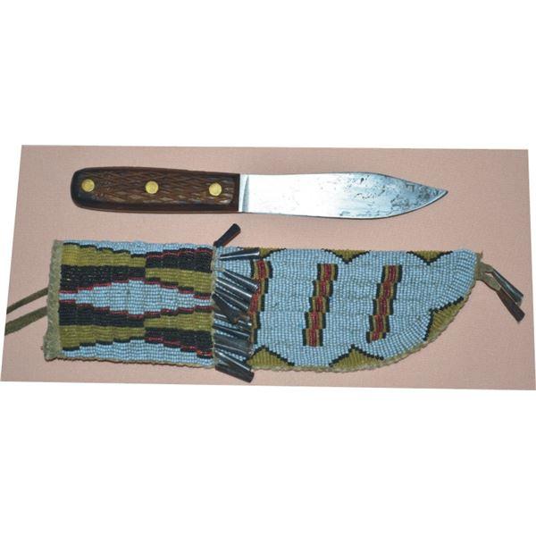 Cheyenne style beaded buffalo hide knife scabbard