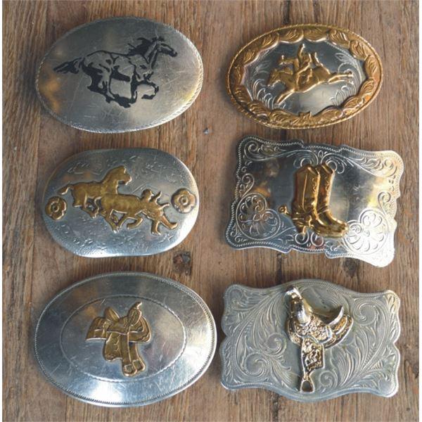 6 german silver belt buckles