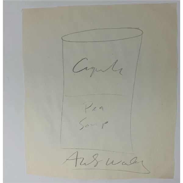 Signed Andy Warhol Pea Soup Can Sketch