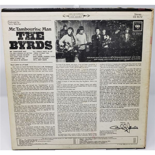 Signed Byrds Mr. Tambourine Man Album Cover