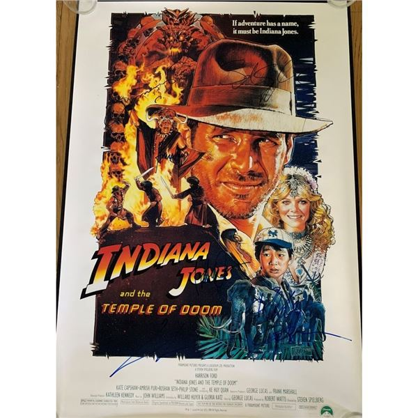 Signed  Indiana Jones & The Temple Of Doom Movie Poster