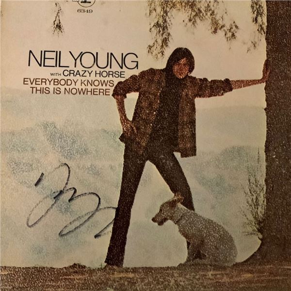 Signed Neil Young Everybody Knows This Is Nowhere Album Cover