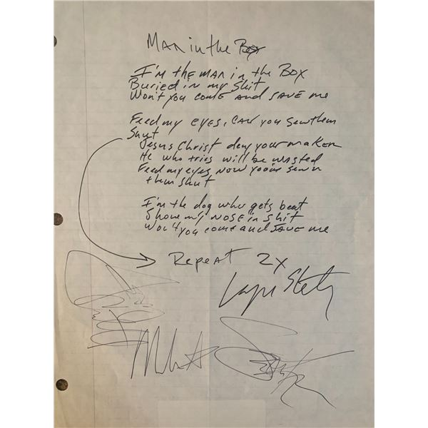 Signed Alice In Chains Man In The Box Lyrics