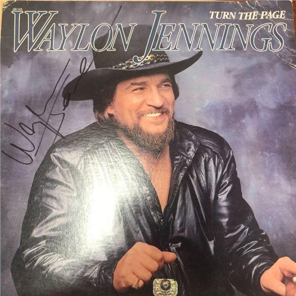 Signed Waylon Jennings Turn The Page Album Cover