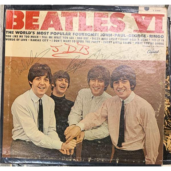 Signed Beatles VI Album Cover