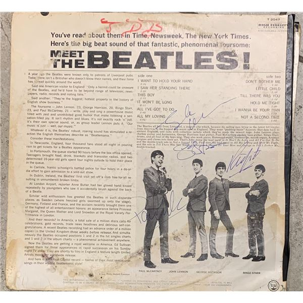 Signed Meet The Beatles Album Cover