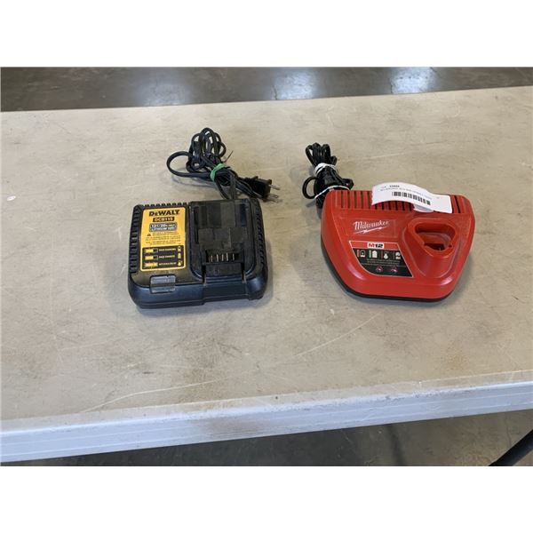 MILWAUKEE M12 AND DEWALT 12/20V CHARGERS