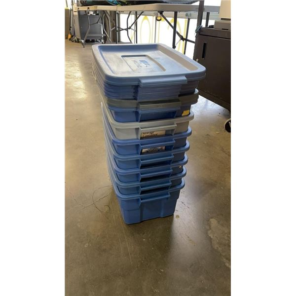 7 SMALL TOTES W/ LIDS