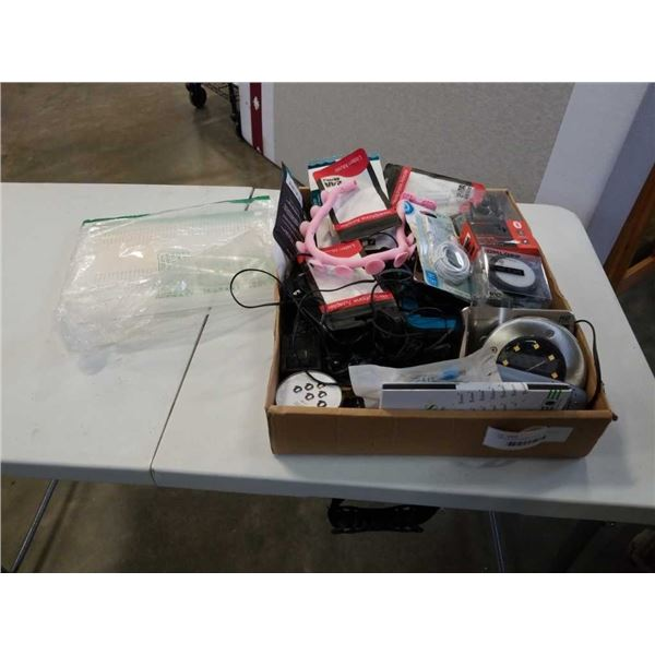 TRAY OF ELECTRONICS, BLUETOOTH EAR PIECE, SCREEN PROTECTORS, CHARGERS