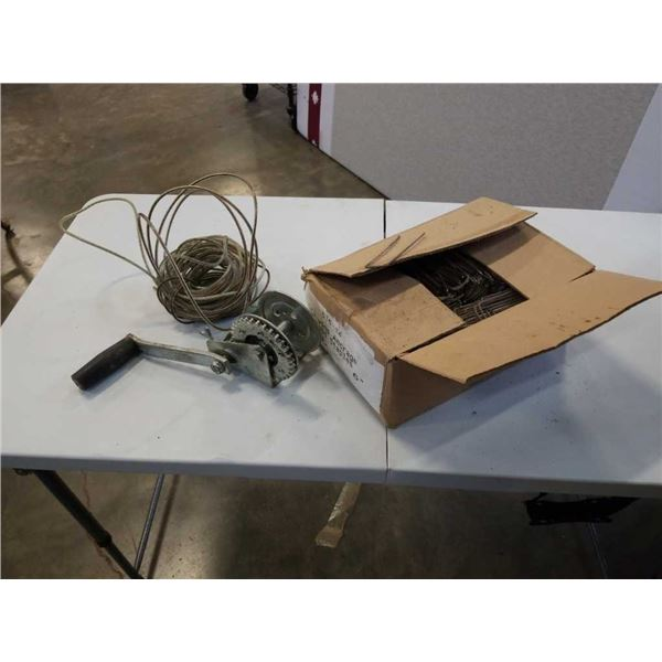 Box of 6 in ground Staples, manual winch and wire