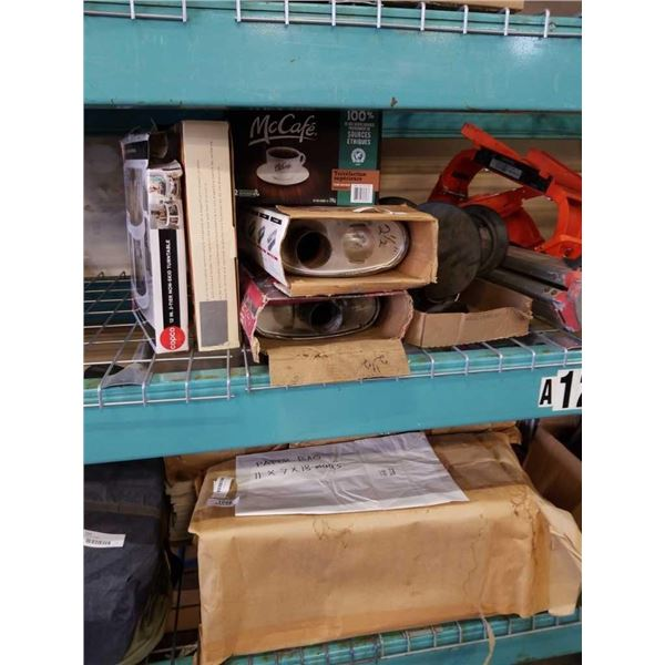 LOT OF OUTDOOR AND INDOOR LIGHTING, PANS, SPINNING RACK AND 2 MUFFLERS