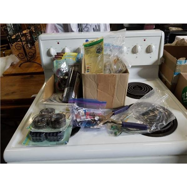 Two boxes of crafts and grommet tools