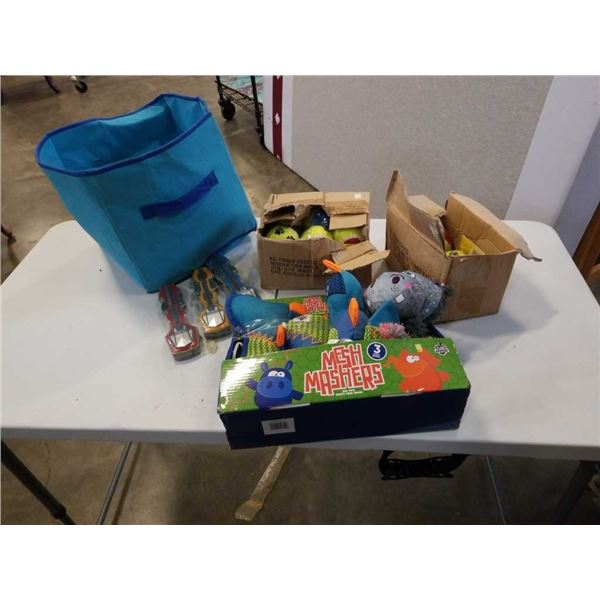 Lot of dog toys and Cobra flying toys