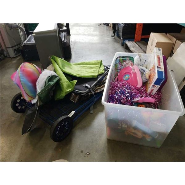 Tote of toys, personal shopping baskets and bags