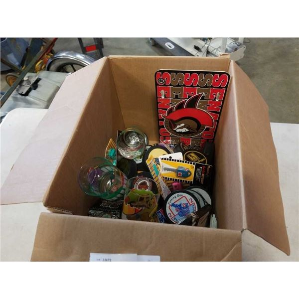 BOX OF HOCKEY PUCKS, COLLECTABLES, MCDONALDS GLASSES, M BEE COMPANY FILE ORGANIZER
