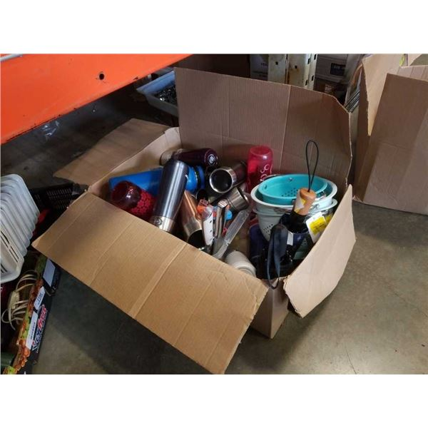 Box of store returned water bottles umbrellas and strainers