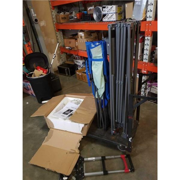 Folding dolly, folding cot, canopy frame and chandelier - store returns parts only
