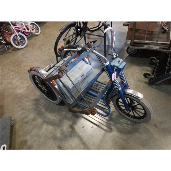 ELECTRIC TRIKE 24V - NO BATTERY AND BARREL DOLLY