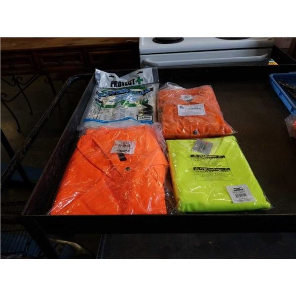 New welding jacket, long sleeve traffic shirt, bib overalls and laminated coveralls