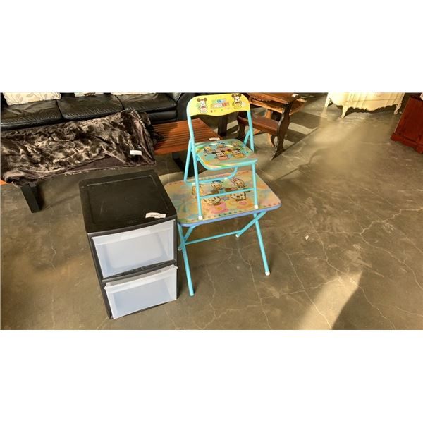 2 DRAWER ORGANIZER AND DISNEY KIDS CHAIR AND TABLE
