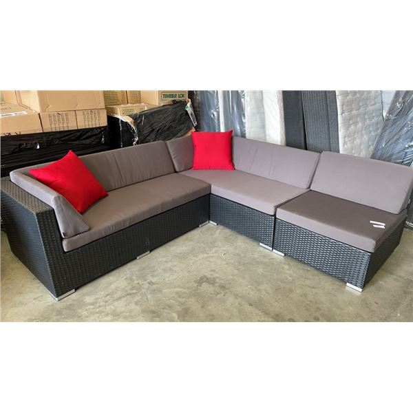BRAND NEW PREMIUM OUTDOOR SECTIONAL RETAIL $2069 W/ DARK GREY CUSHIONS AND 2 ACCENT PILLOWS - MADE W
