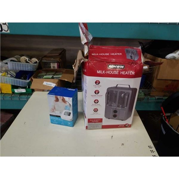 Milkhouse electric heater working and blood pressure monitor