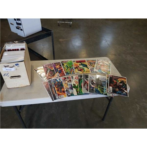 BOX OF COLLECTABLE COMICS WITH BOARDS AND SLEEVES