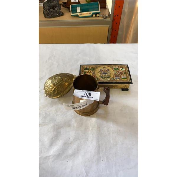 BRASS WALNUT CRACKER, STEIN AND JEWELRY BOX