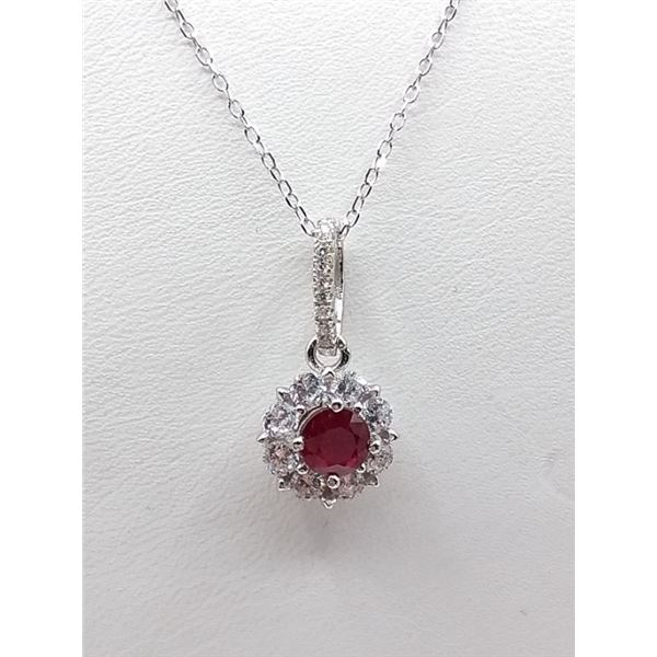 """STERLING SILVER RUBY AND CZ PENDANT W/ 16"""" CHAIN W/ APPRAISAL $780"""