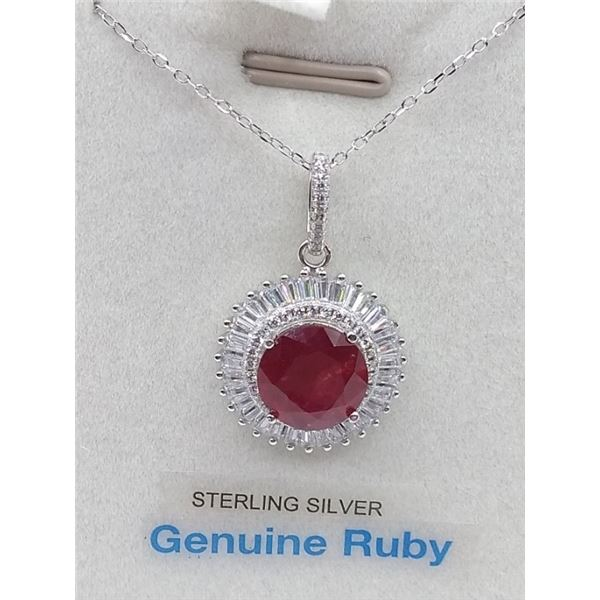 STERLING SILVER PENDANT AND CHAIN SET W. 4.97CT RUBY AND CZ W/ APPRAISAL $1320