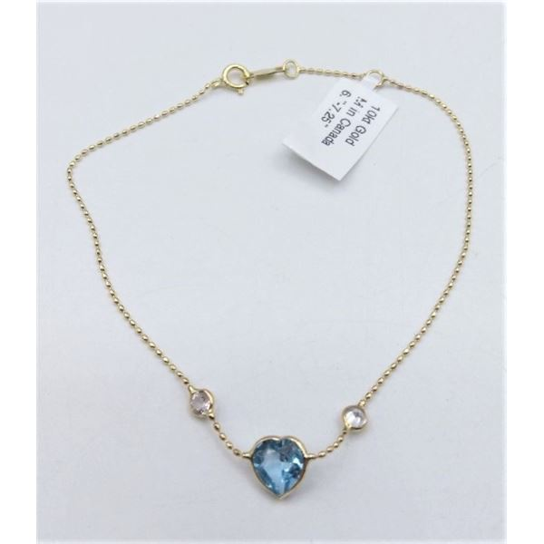 10KT YELLOW GOLD HEART SHAPE BLUE TOPZ AND WHITE SAPPHIRE BRACELET W/ APPRAISAL $1020