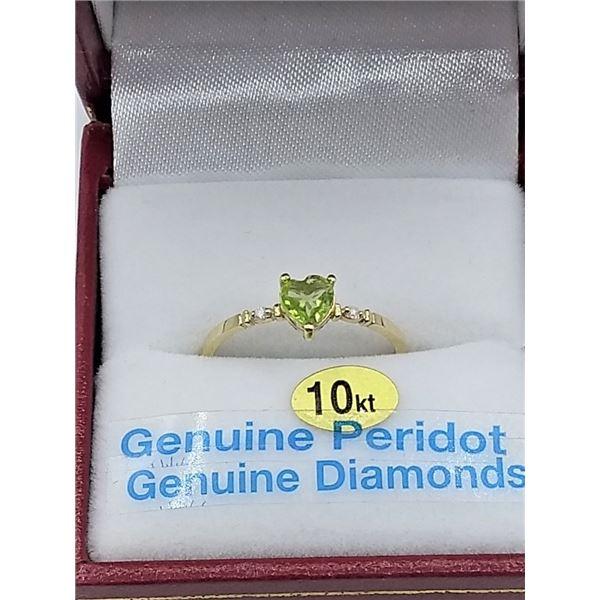 10KT YELLOW GOLD 5.13MM X 5MM GENUINE PERIDOT .5CT AND DIAMOND .02CT HEART RING W/ APPRAISAL $1545