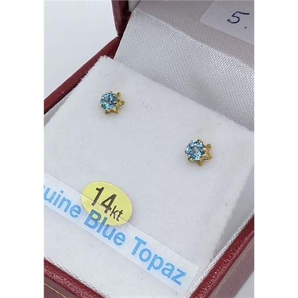 14KT GENUINE BLUE TOPAZ EARRINGS W/ APPRAISAL $595