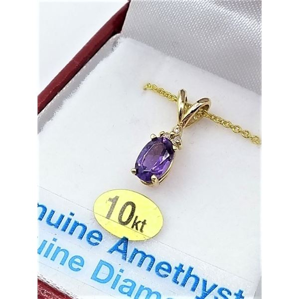 HEAVY 10KT YELLOW GOLD PENDANT SET WITH GENUINE AMETHYST AND 3 DIAMONDS W/ SILVER CHAIN W/ APPRAISAL