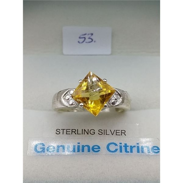 NATURAL STERLING SILVER CITRINE RING RETAIL $250