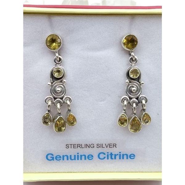 HEAVY STERLING SILVER GENUINE CITRINE GEMSTONE EARRINGS - RETAIL $250