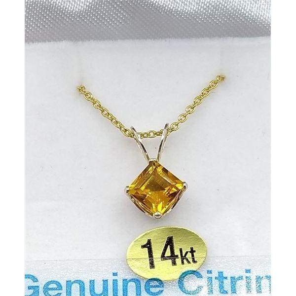 14 KT WHITE GOLD YELLOW CITRINE PENDANT W/ SILVER CHAIN W/ APPRAISAL $855