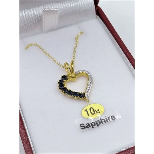 STERLING SILVER HEART SHAPE PENDANT AND SILVER GP CHAIN SET W/ GENUINE BLUE SAPPHIRES W/ APPRAISAL $