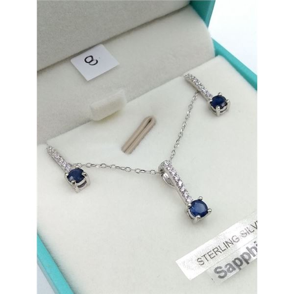 STERLING SILVER EARRINGS AND PENDANT SET W/ CHAIN SET W/ BLUE SAPPHIRE AND CZ W/ APPRAISAL $875