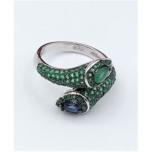 STERLING SILVER BLACK RHODIUM SNAKE RING SET W/ BLUE SAPPHIRES, EMERALD, AND CHROME DIOPSIDE GEMSTON
