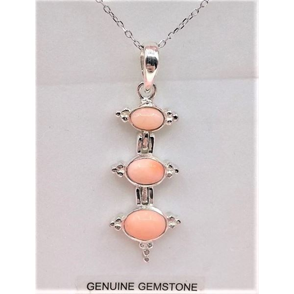 STERLING SILVER PENDANT AND CHAIN SET W/ GENUINE CORAL STONE RETAIL $300