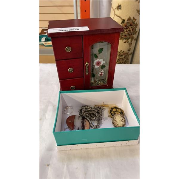 WOODEN JEWELLERY BOX AND BOX OF VARIOUS JEWELLERY