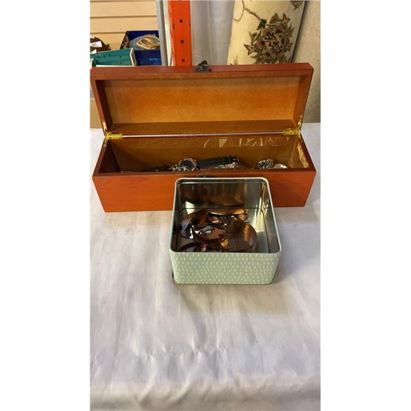 WOODEN CASE W/ WATCHES AND TIN OF COPPER PIECES
