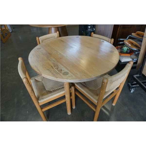 ROUND PINE DINING TABLE WITH 4 ROPE SEAT CHAIRS