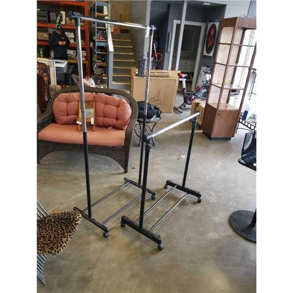 2 ROLLING CLOTHING RACKS