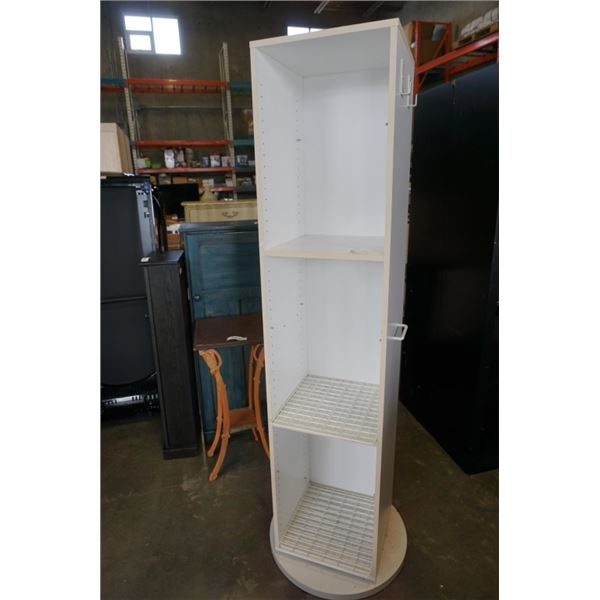 WHITE SPINNING SHELF WITH WIRE GRID SHELVES - 6 FOOT TALL