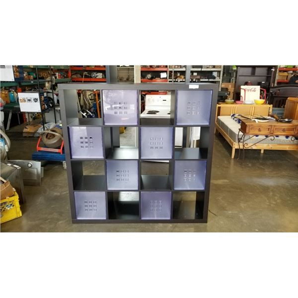 LARGE CUBICAL SHELF WITH 8 DRAWERS - 59 INCHES TALL X 59 INCHES WIDE
