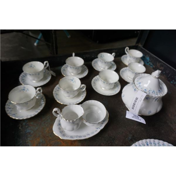 MEMORY LANE ROYAL ALBERT TEAPOT, CUPS AND SAUCERS, CREAM AND SUGAR WITH TRAY AND CAKE PLATE