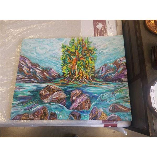 "ORIGINAL ACRYLIC PAINTING, ARTIST: SEPIDEH JEBRAEIL 35.5"" X 27"" ON CANVAS"