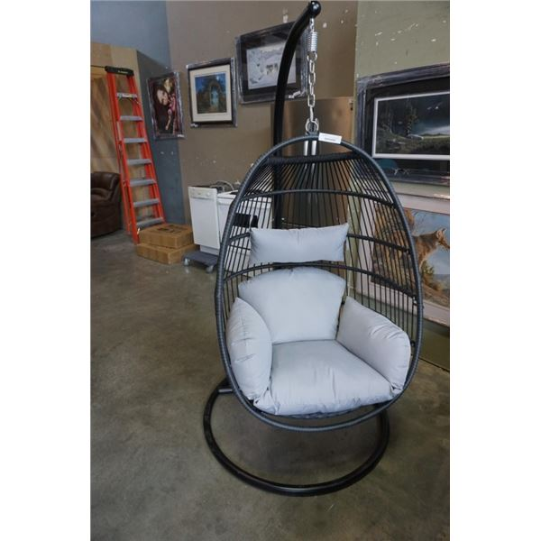 BRAND NEW GREY SINGLE HANGING EGG CHAIR - RETAIL $949 W/ NECK PILLOW, FOLDABLE FRAME, POWDER COATED